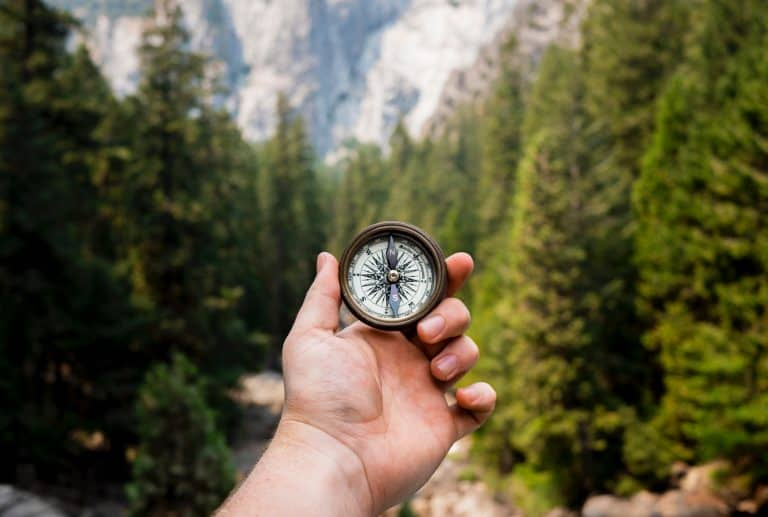 looking for direction with a compass